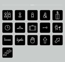 简洁线条黑白经典商场卫生间楼宇标识