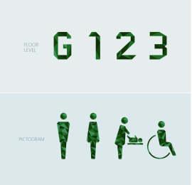 绿色几何多面立体公园卫生间指示标识