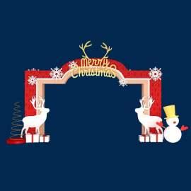 圣诞美陈素材  圣诞鹿红色礼物雪花雪人圣诞节美陈设计门头