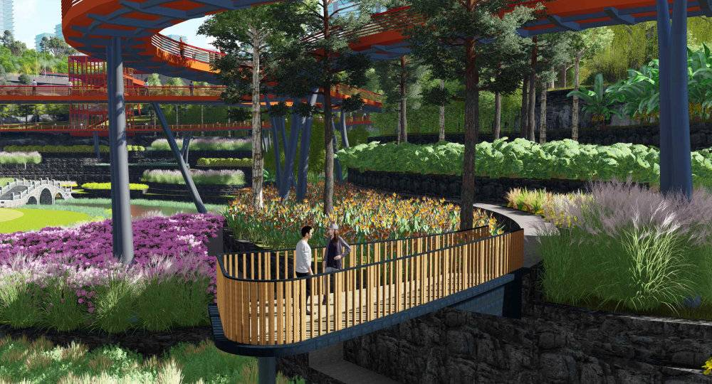 现代主义风格湿地公园模型