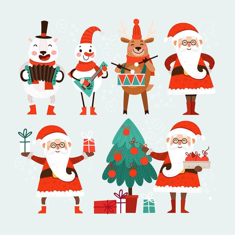 卡通  可爱  圣诞老人  圣诞树  圣诞鹿  圣诞雪人  圣诞礼包  卡通圣诞老人   卡通雪人   卡通鹿