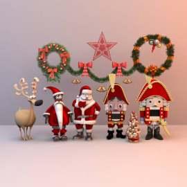 圣诞节展示模型 圣诞老人 乐高 模型