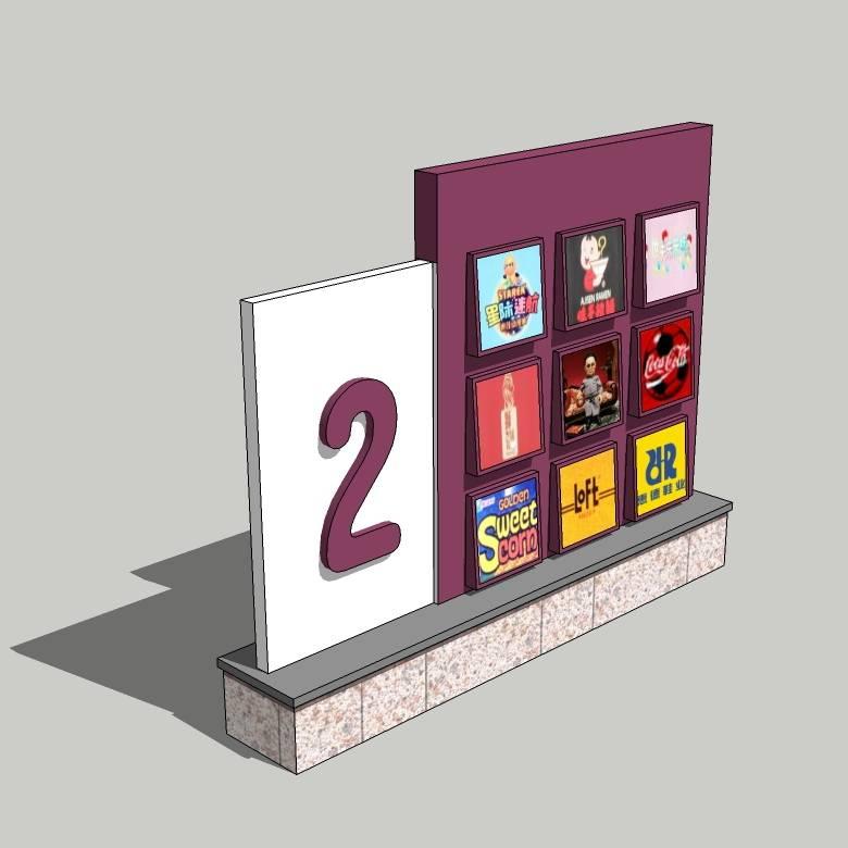 商场美食街立牌模型