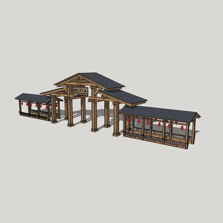 古建筑 实木 景区大门室外模型