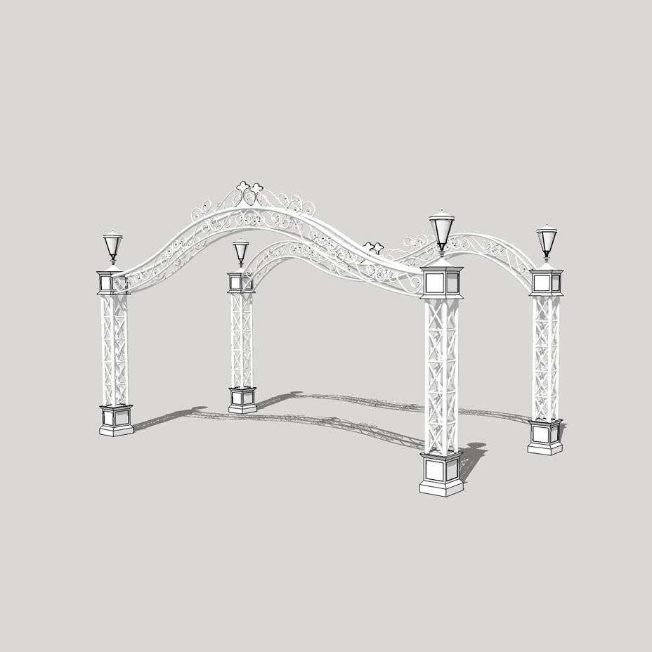 建筑景观 欧式大门入口 灯柱