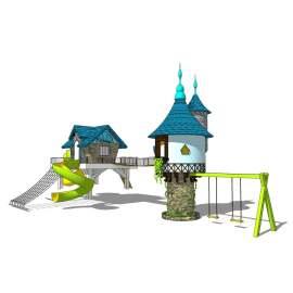游乐设施 秋千 爬爬网 旋转滑梯 游乐园 城堡