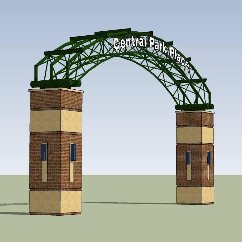 美食城入口 小区大门入口 环境设计 模型图