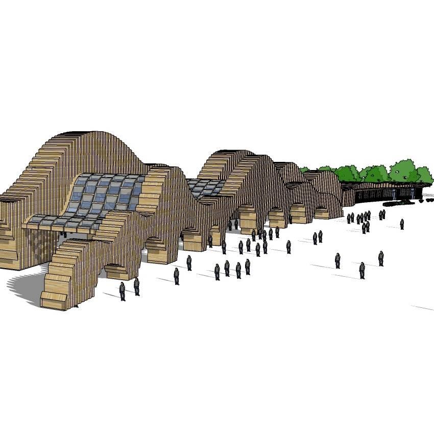 现代建筑模型 公园大门建筑