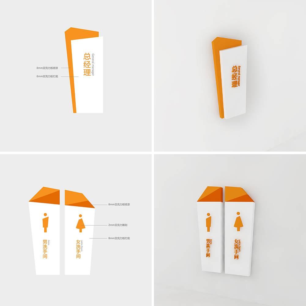 橙白色简约几何图形公共空间办公导示系统