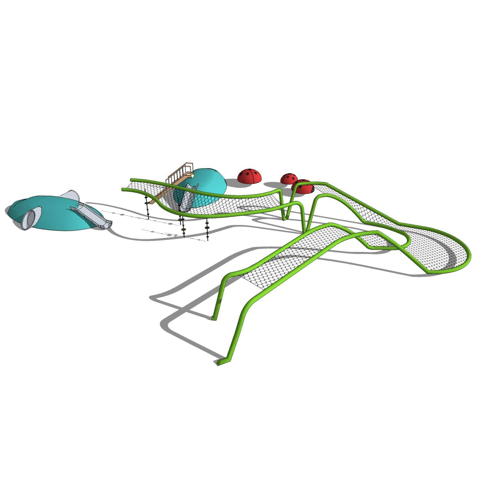 幼儿园 游乐场 隧道 儿童 纱网 滑滑梯 游乐设施 运动