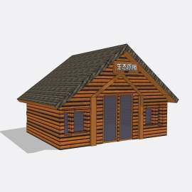 公厕  卫生间  厕所 景观  建筑  设计  模型  欧式  公厕    复古  木材   木屋  木质   公园   生态  skp