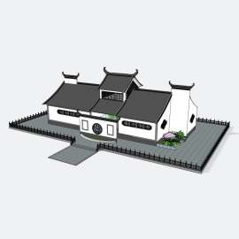 公厕  卫生间  厕所 景观  建筑  设计  模型  新中式公厕   徽派  古典  中国风建筑  skp