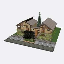 卫生间 公厕  厕所  景观  建筑  模型  设计  新中式  复古  石头  石屋  草房  草屋  skp