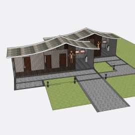 卫生间 景区卫生间  景区公厕  景区厕所  公厕  厕所  景观 建筑  模型  简约  复古  公园  简洁 创意  个性  卫生间标识  skp