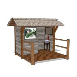 景区茅草房屋公厕卫生间skp模型