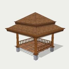 东南亚凉亭  凉亭  木质凉亭 观景设施模型 设计 景观设计 SKP
