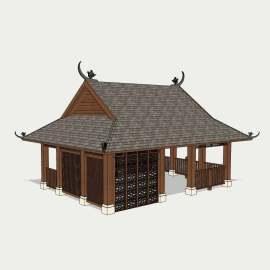 东南亚建筑  房屋  木质建筑 草图大师 草图大师模型 观景设施模型 设计 景观设计 SKP