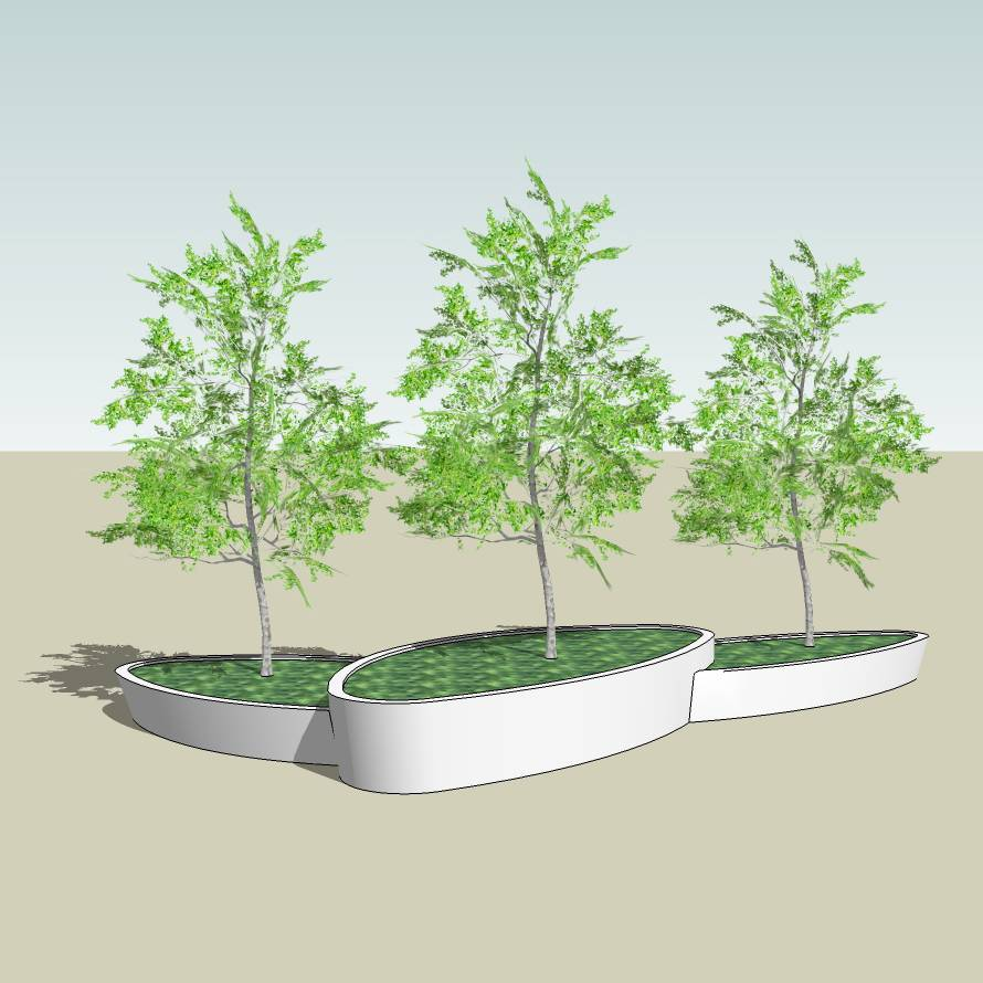 异形树池  石树池 树池拼接  创意坐凳 长凳 广场 公园 公共空间  种植池休息 闲坐 草图大师 模型 景观园林设计  室外模型 SKP