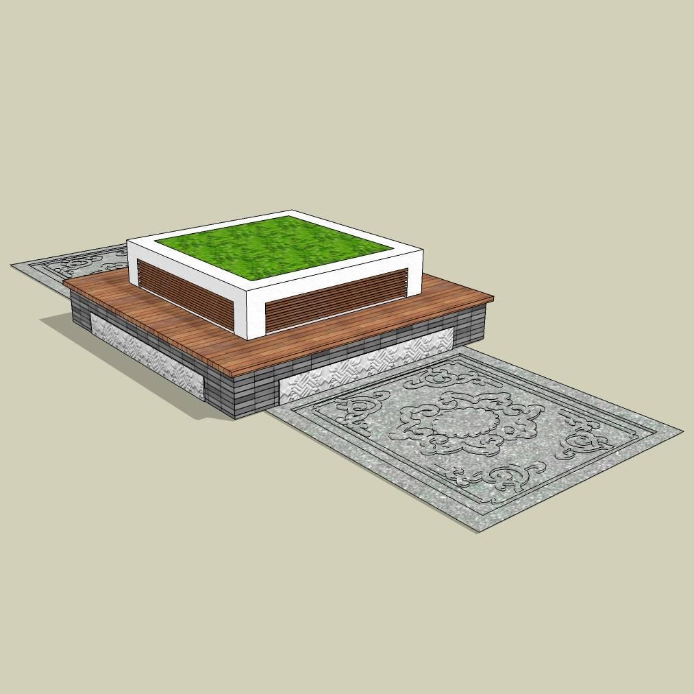方形树池  中式古典  创意树池  砖树池  长凳  广场 公园 公共空间  种植池休息