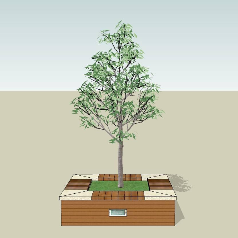 方形树池  石树池  石木拼合树池  创意坐凳