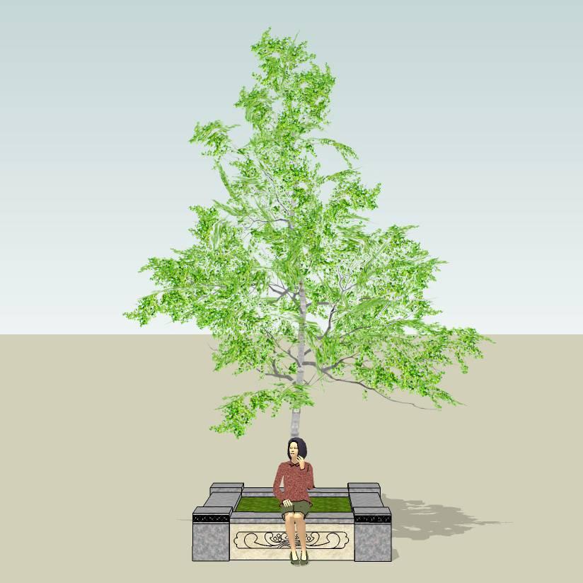 方形树池  石树池  花岗岩树池  创意坐凳   长凳  古典花纹   广场 公园 公共空间  种植池休息 闲坐 草图大师 模型 景观园林设计  室外模型 SKP