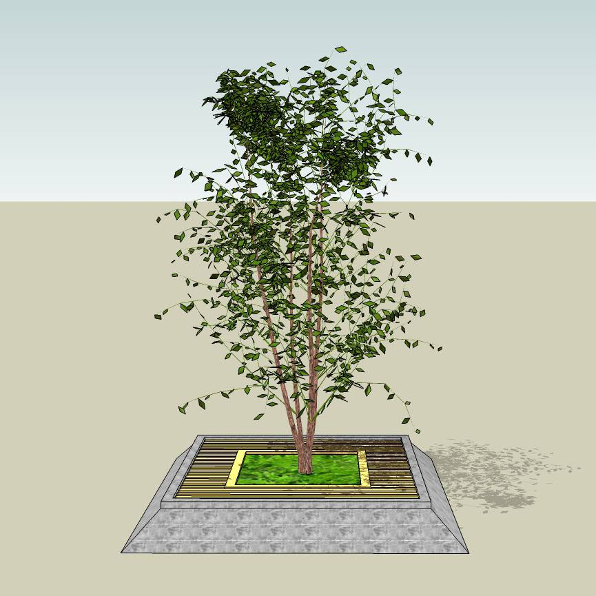 方形树池  石木拼合树池  创意坐凳  花岗岩  石树池  木树池  长凳  欧式   广场 公园 公共空间  种植池休息 闲坐 草图大师 模型 景观园林设计  室外模型 SKP