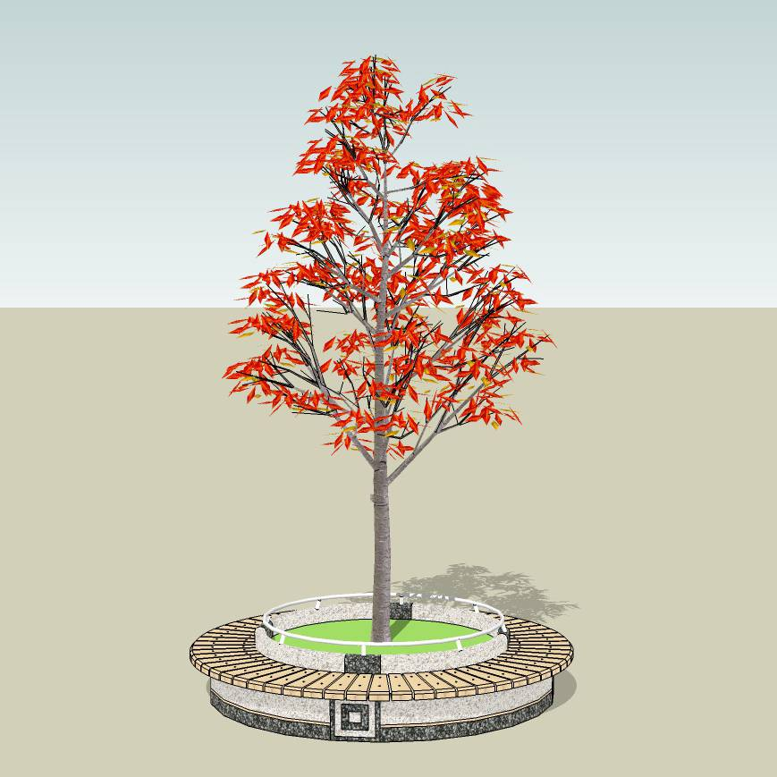 圆形树池  木树池  创意坐凳  长凳  木石拼合  广场 公园 公共空间  种植池休息 闲坐 草图大师 模型 景观园林设计  室外模型 SKP