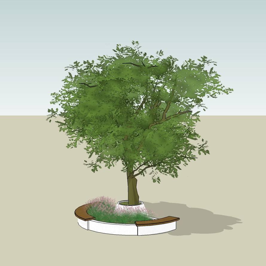 异形树池 木树池 创意坐凳 半圆树池 长凳 广场 公园 公共空间 种植池