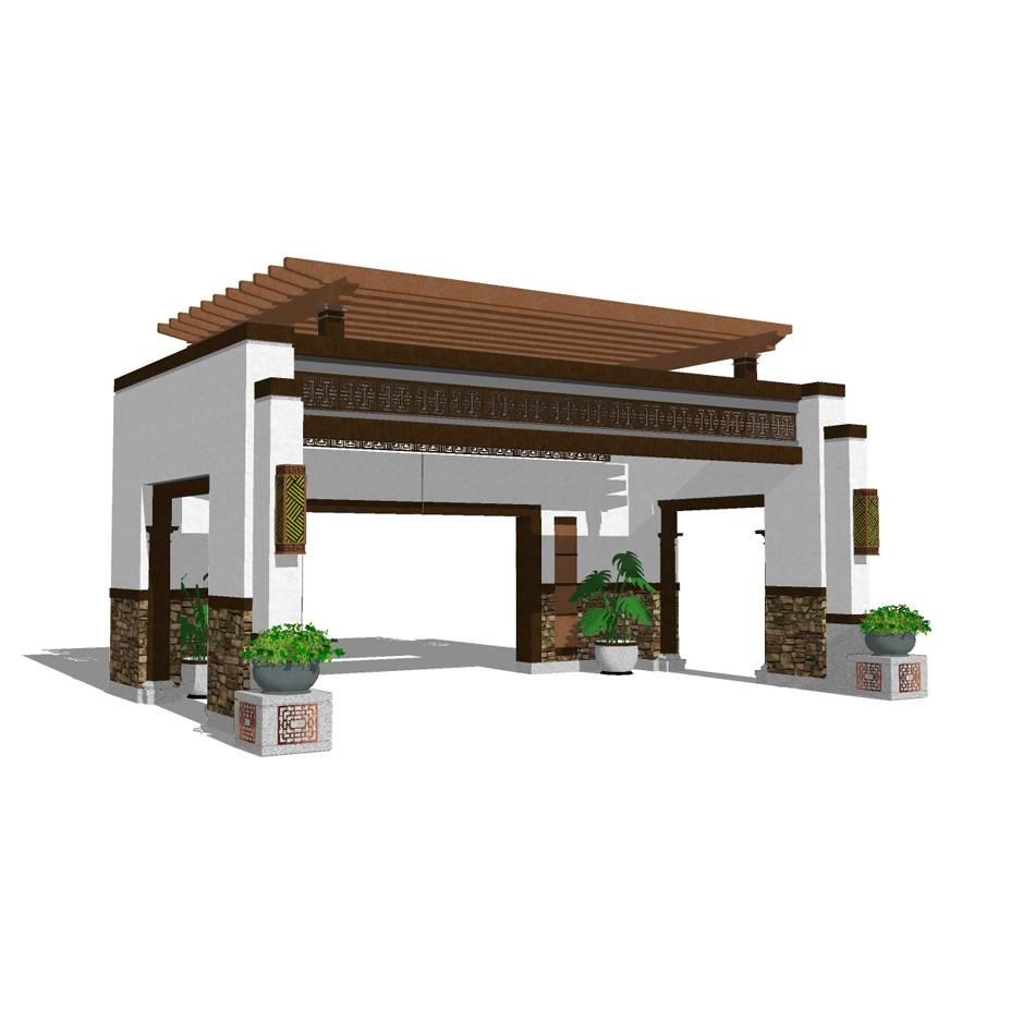 大门入口 中式亭 亭 四角亭 中式建筑 景观亭 休息亭  亭子设计 景观模型