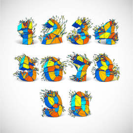3D立体抽象碎裂字体设计