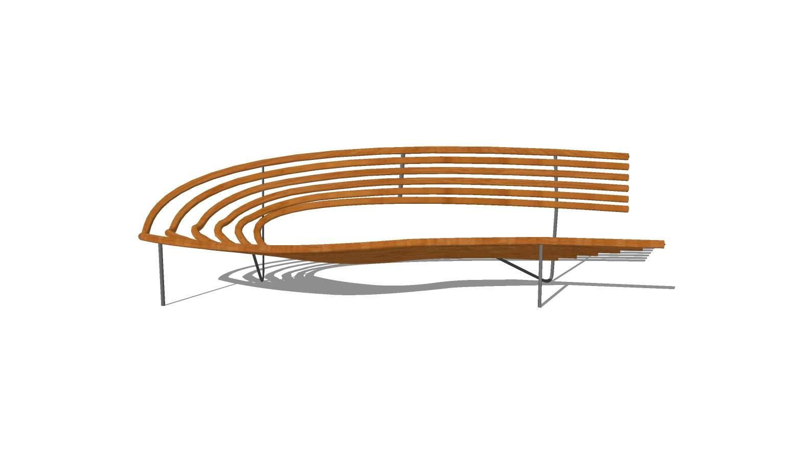 创意坐凳 长凳  弧形凳子 广场 公园 商业 公共空间 木质 休闲 景观园林模型