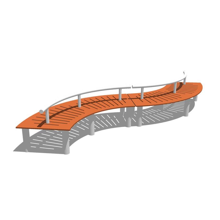 创意坐凳 弧形长凳 现代风格 广场 公园 商业 公共空间 木质 休闲 景观园林模型