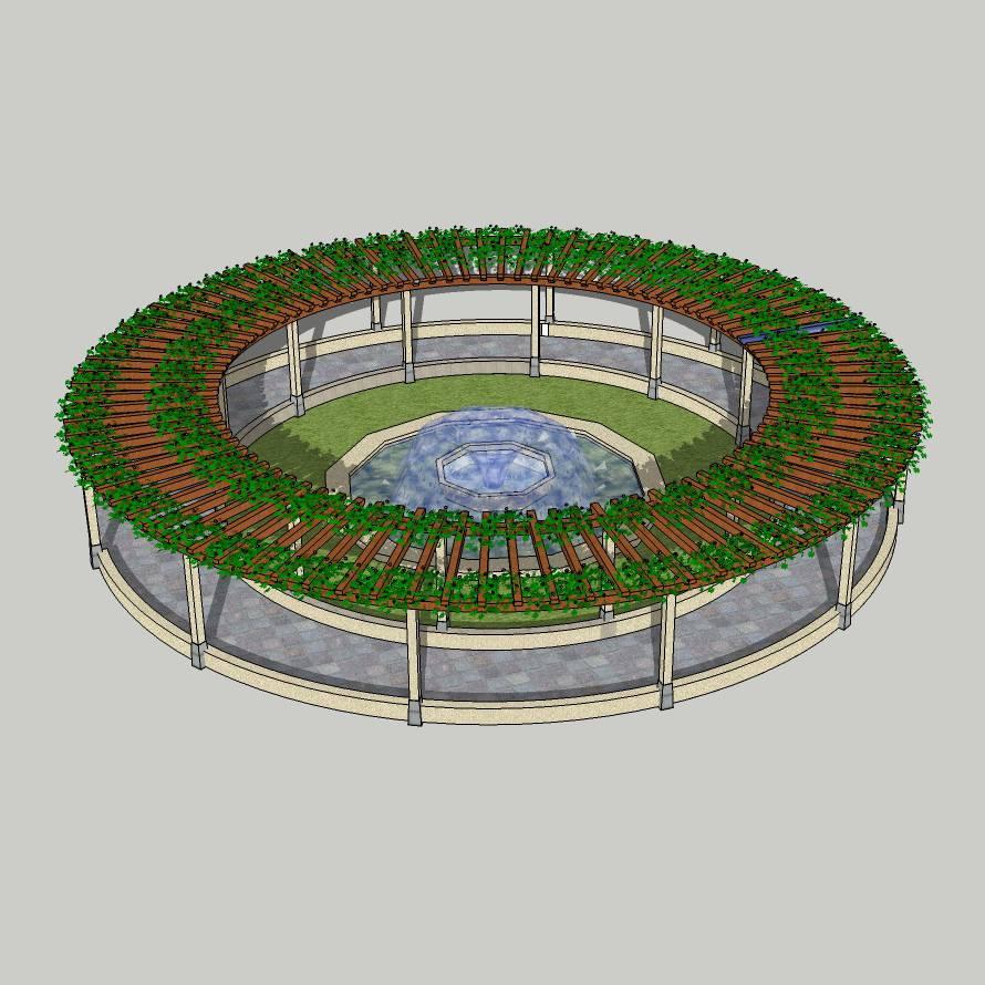 欧式廊架 圆形廊架 廊架 喷水池 休息亭 长凳 半圆廊架 景观廊架 遮阳