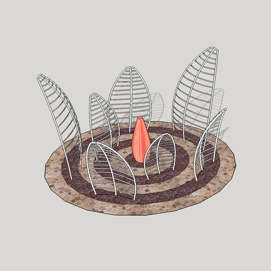 花瓣模型 景观小品 公园绿地 景观模型
