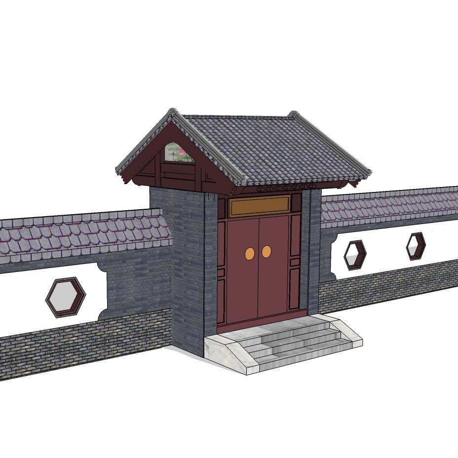 中式大门入口 景观大门 木质大门 入口标志 宅子 大门设计 SU模型 环境设计 景观设计