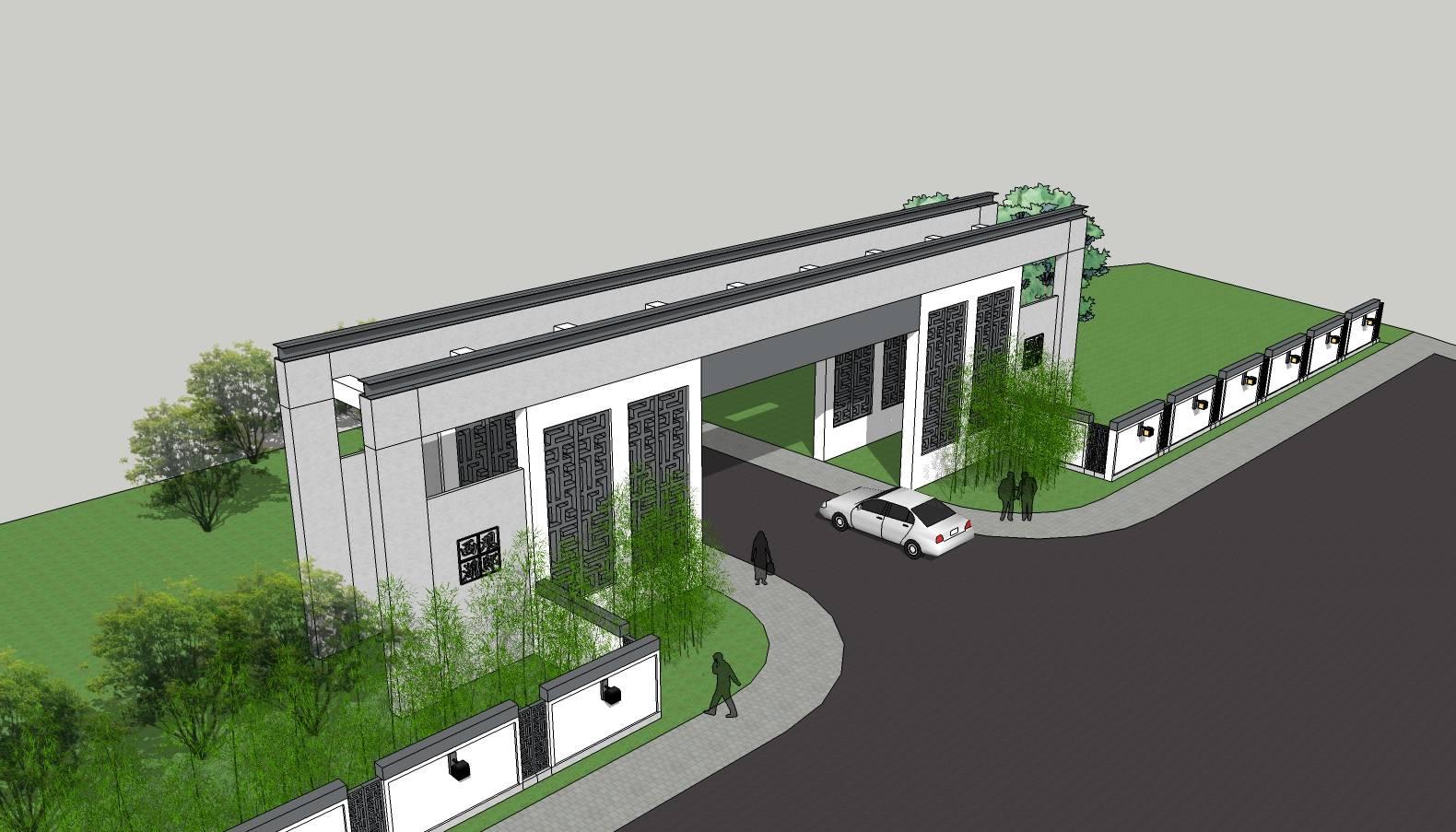 木质大门 入口标志 入口景区 大门设计 su模型 环境设计 景观设计