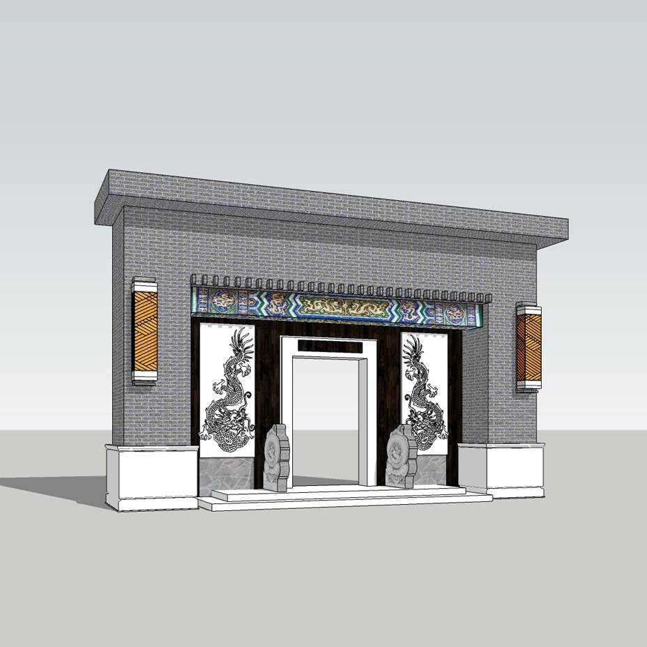 中式大门入口 景观大门 入口标志 景区入口 大门设计 SU模型 环境设计 景观设计