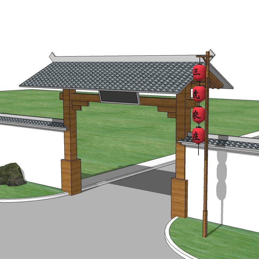 中式大门入口 景观大门 木质大门 入口标志 景区入口 大门设计 SU模型 环境设计 景观设计