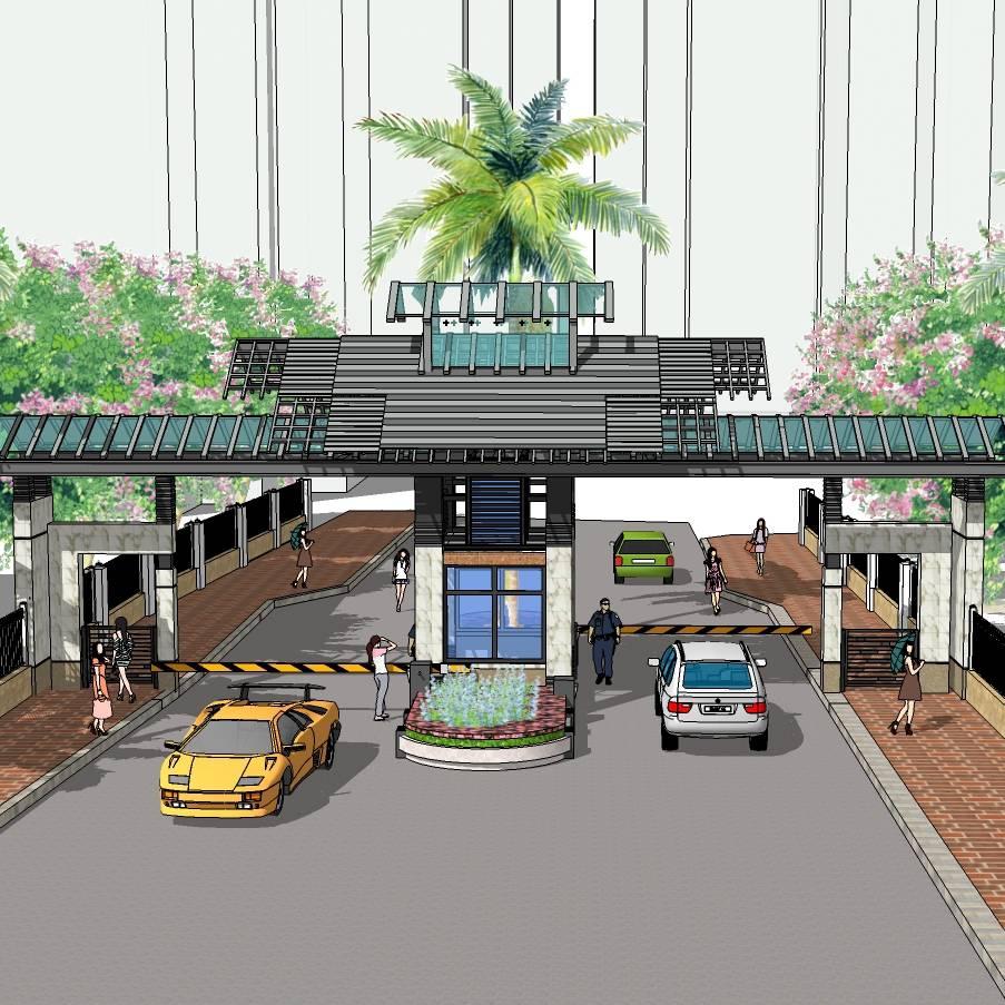 中式大门入口 岗亭 景观大门 木质大门 入口标志 入口景区 大门设计 SU模型 环境设计 景观设计