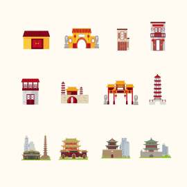 卡通中国传统建筑