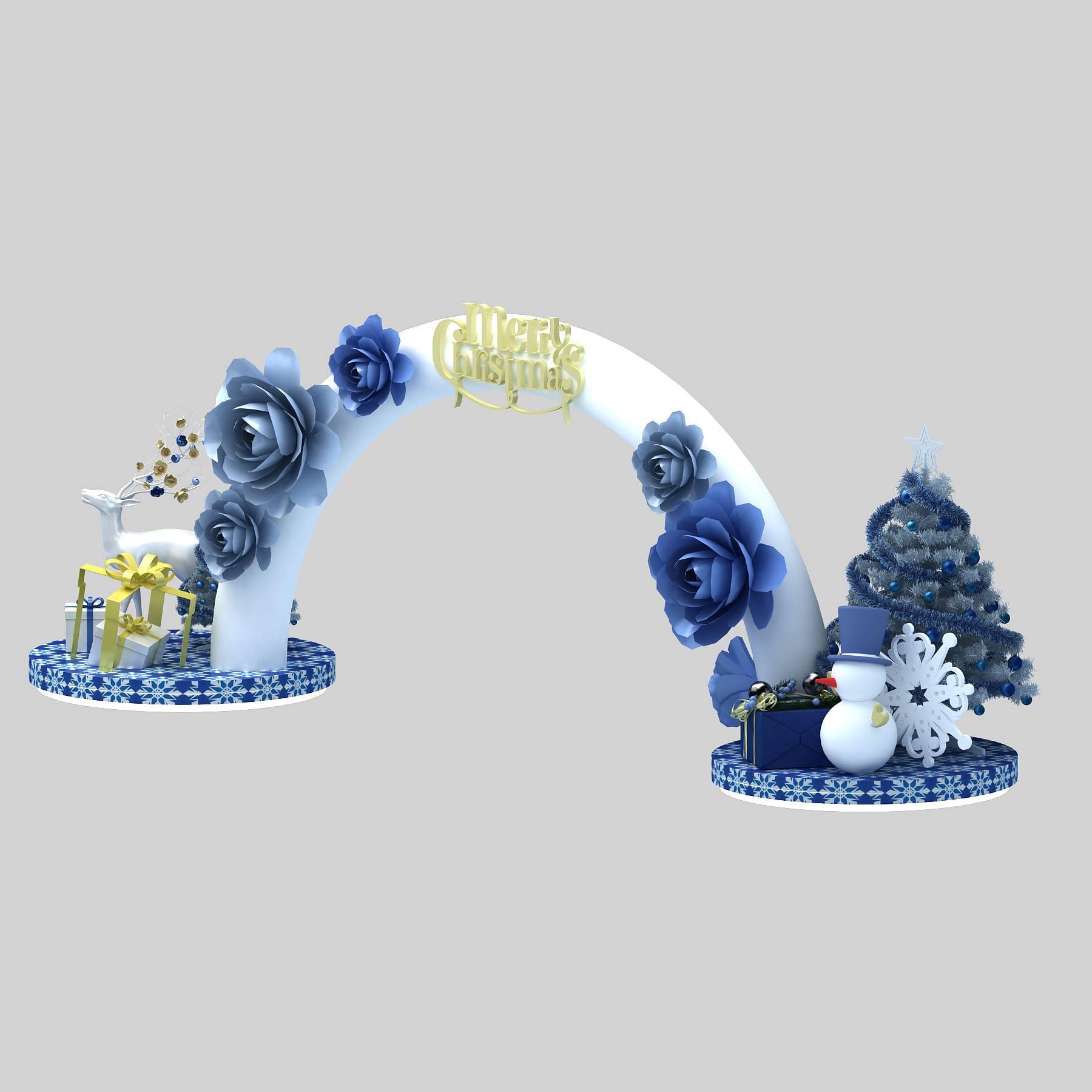 圣诞美陈 装饰门 节庆 雪人 圣诞树 美陈模型