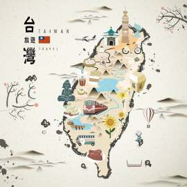 台湾旅游扁平化建筑水墨创意设计