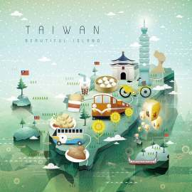 台湾旅游扁平化创意导视地图