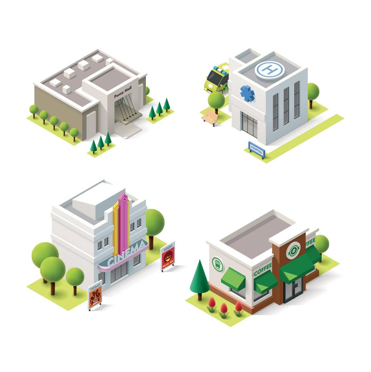 卡通城市建筑 等距建筑 城市卡通 卡通街景 等距视图 模型设计 立体建筑 时尚元素 现代3D 城市插画 房屋插图 卡通设计