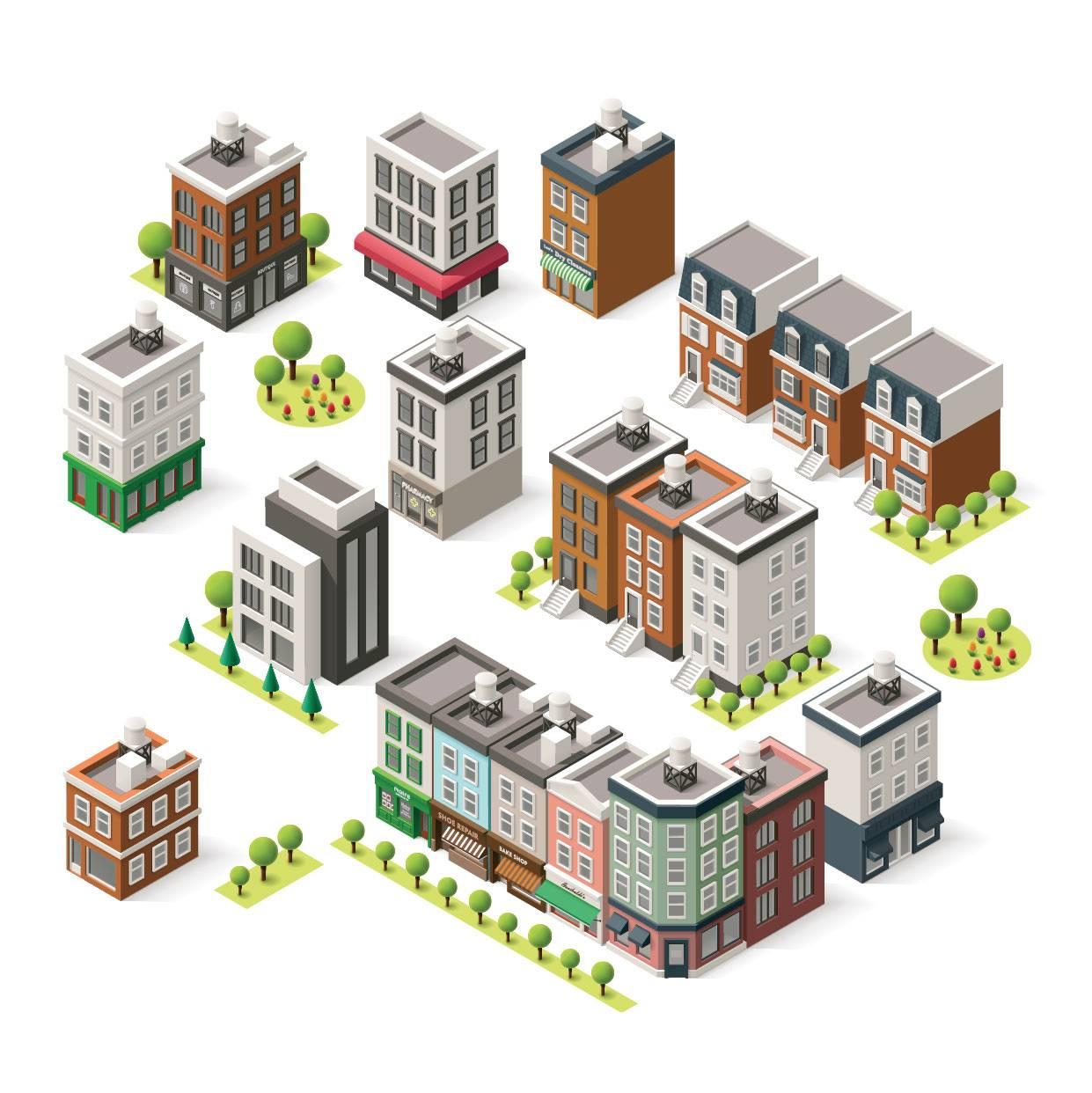 卡通城市建筑 等距建筑 城市卡通 卡通街景 等距视图 模型设计 立体建筑 时尚元素 现代3D 城市插画 房屋插图卡通设计