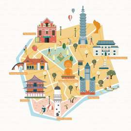台湾旅游扁平化建筑创意设计