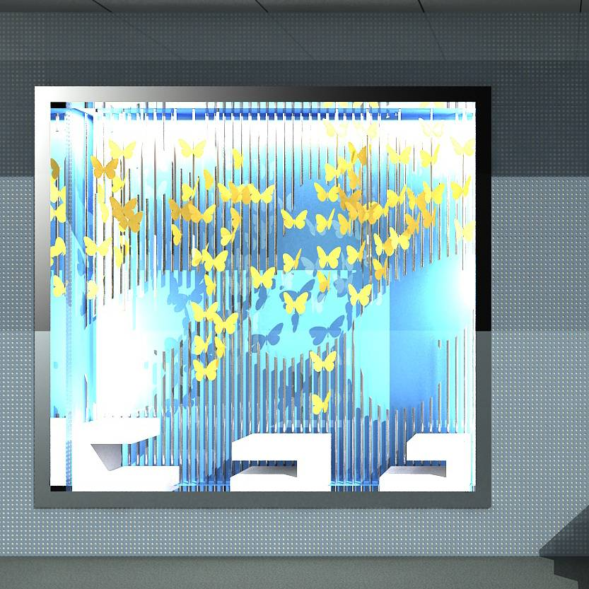 小清新橱窗 蝴蝶 蓝色橱窗设计 展示橱窗