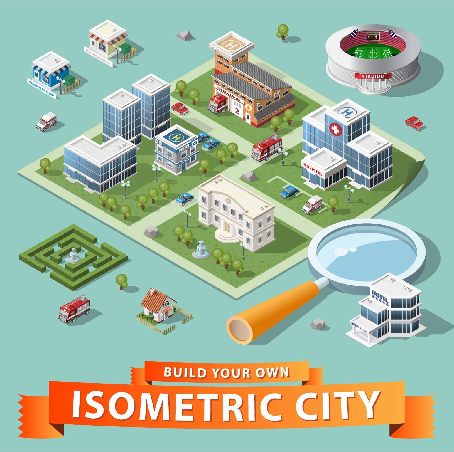3D立体城市建筑群手绘矢量插画