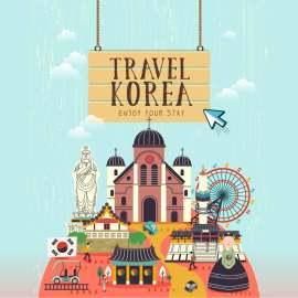 韩国旅游扁平化设计矢量图