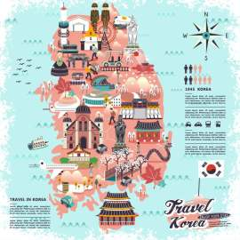 韩国旅游lowpoly设计矢量图